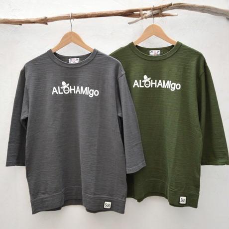 【メンズ】u.m.i kohola  スラブ生地 7分袖Tシャツ ALOHAMigo [Y-0629E]