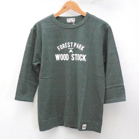 隠れた人気定番の7分袖Tシャツ【メンズ】u.m.i sunrise ( ユーエムアイサンライズ) スラブ生地 7分袖Tシャツ WOOD STOCK [Y-0688E]