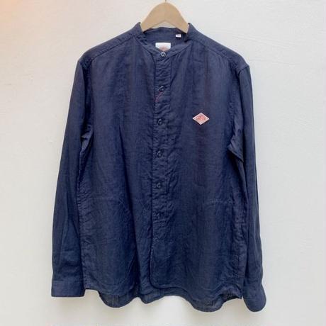 【メンズ】DANTON(ダントン)ポケット付 長袖バンドカラーリネンシャツ   JD-3607KLS