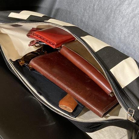 帆布ボディバッグ ストライプ柄
