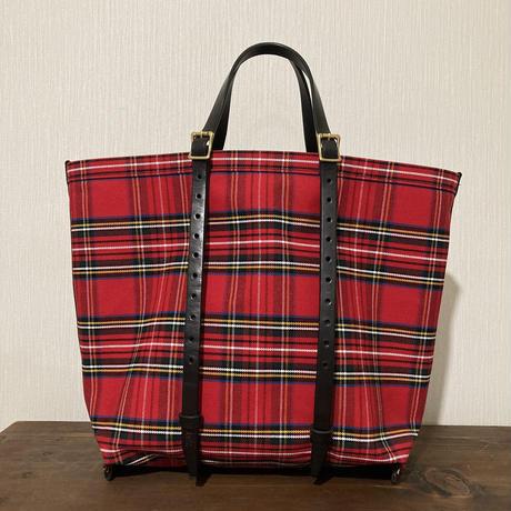 チェック 赤 帆布トートバッグ Mサイズ