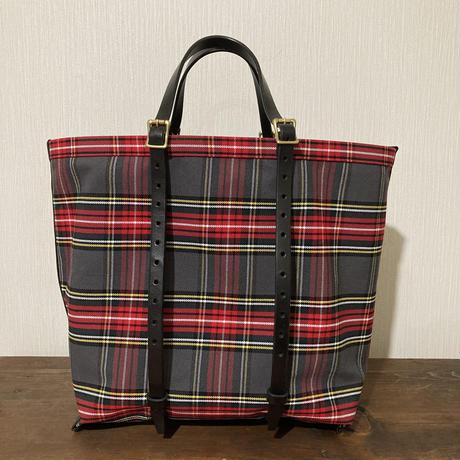チェック グレー 帆布トートバッグ Mサイズ