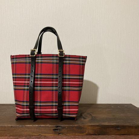 チェック 赤 帆布トートバッグ Sサイズ