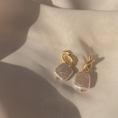 knot square pearl earrings (post silver925)