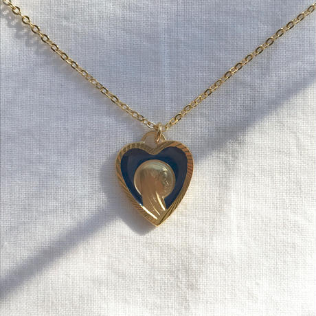 vintage navy heart medal necklace