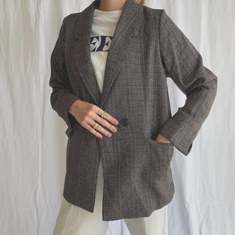 check pattern brown jacket