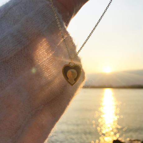 vintage navy heart medal necklace