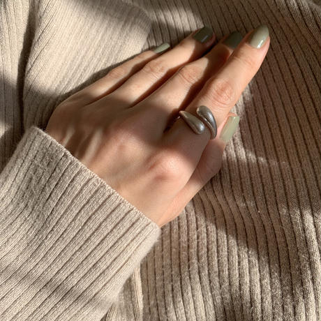 matte volume twist ring -silver-