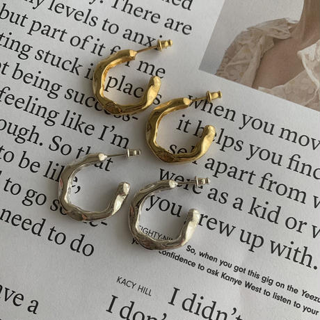 zen hoop pierce -silver-