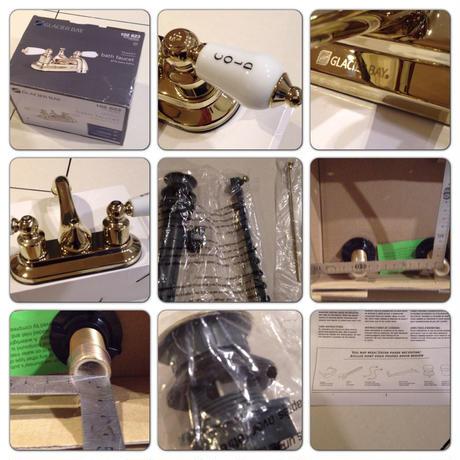 GLACIER BAY洗面用2ハンドル ティーポットタイプ 混合水栓ゴールド