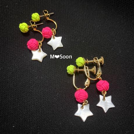 【neon ×neon×shell star】ピアス&イヤリング