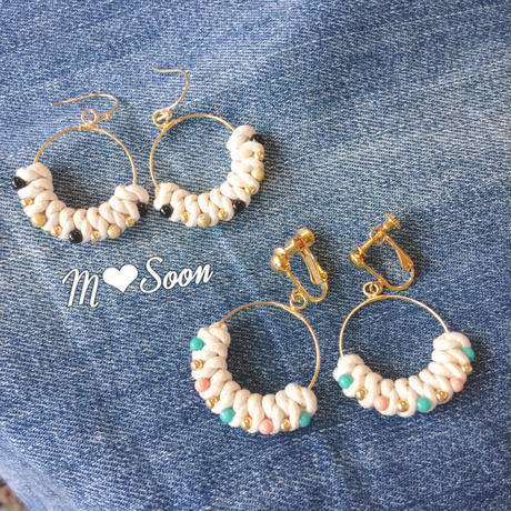【moon *beads】カーキブラック&ピンクブルー