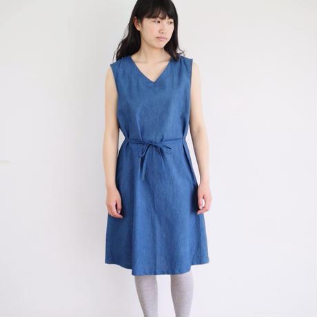 エシカルヘンプVネックリボンワンピース カレン族藍染め 藍色