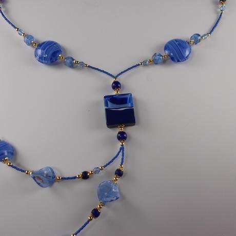 ムラノグラス ネックレス ブルー