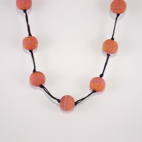 グラスビーズ ネックレス ピンクオレンジ