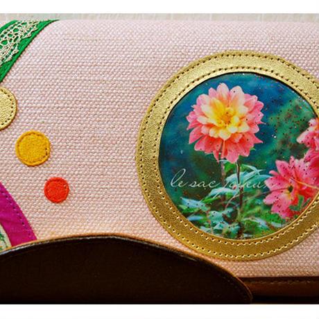 「オレンジピンクダリアの灯り」長財布( Long wallet) / no.26037