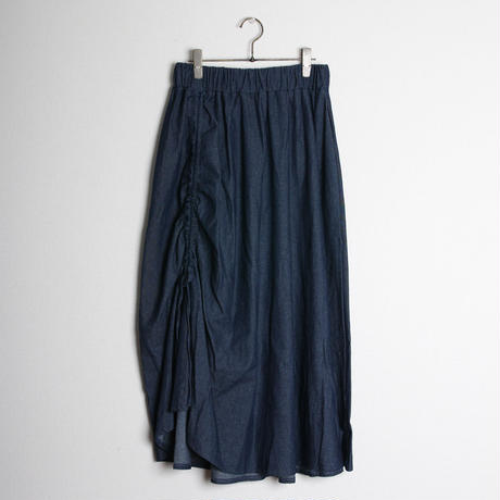 シャーリングデニムロングスカート