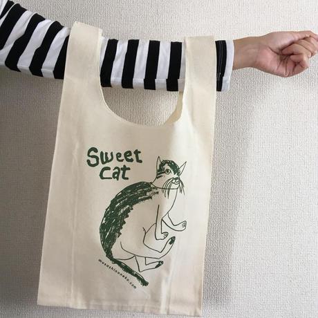 Sweet Cat★コットンマルシェバッグ(グリーン)