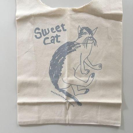 Sweet Cat★コットンマルシェバッグ(グレー)