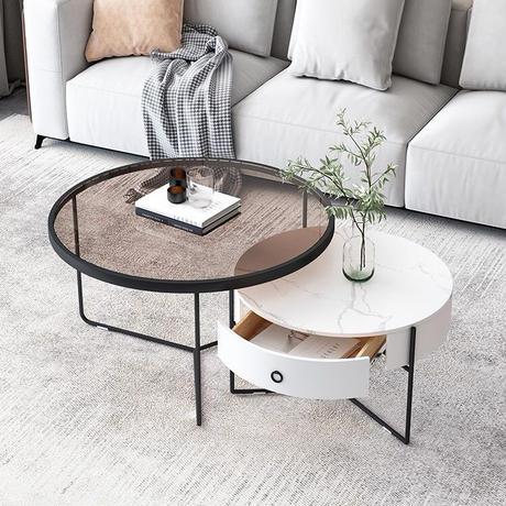 ガラスロックボードコーヒーテーブル