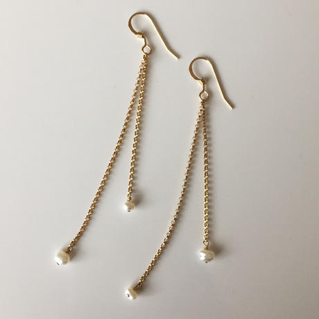 14KGF  freshwater pearl chain earrings