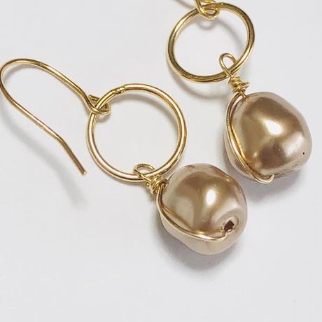 18K  vintage gold pearl
