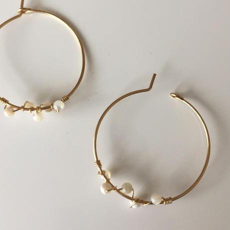 14KGF  mother of pearl hoop earrings