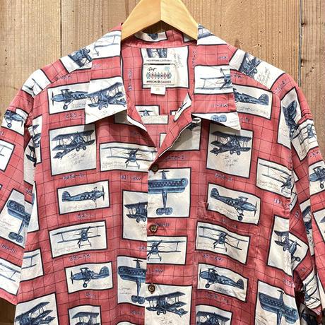 80's~ reyn spooner Egyptian Cotton Aloha Shirt AIR PLANE