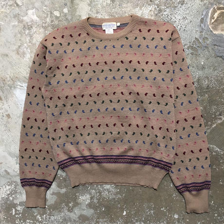 70's BROOKS BROTHERS Paisley  Wool Sweater