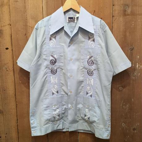 70's~ Barkers guayabera Shirt BLUE