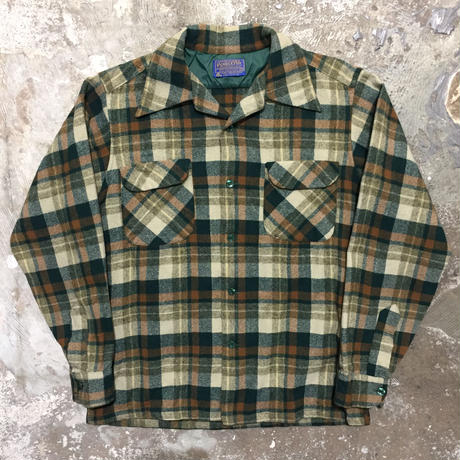 70's PENDLETON Wool Board Shirt GREEN×BROWN