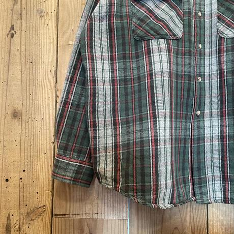 80's~ Carhartt Heavy Cotton Flannel Shirt GREEN×BLACK×RED