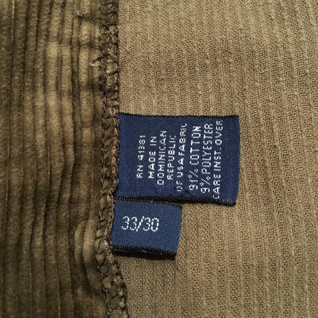 90's Polo Ralph Lauren Two Tuck Corduroy Pants OLIVE W 33  #2