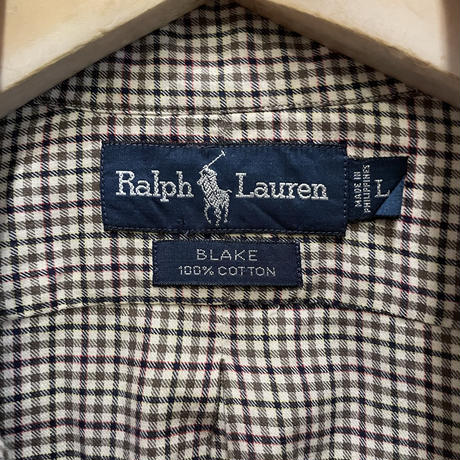 "90's~ Polo Ralph Lauren ""BLAKE"" Cotton B.D Shirt OFFWHITE×OLIVE"