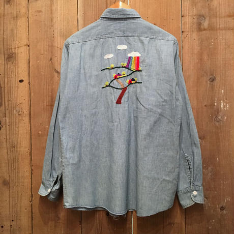 60's WASHINGTON DEE CEE Hand Embroidered Chambray Shirt