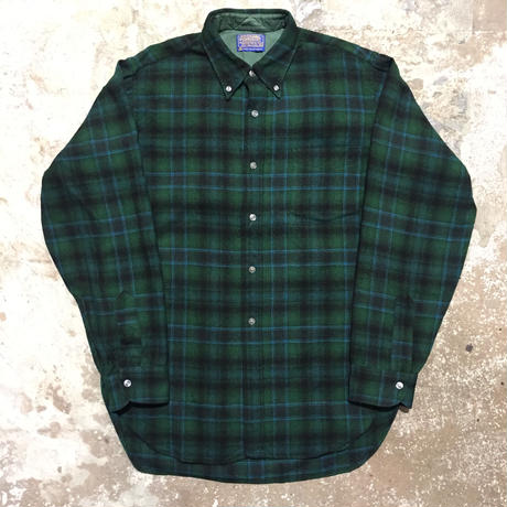 60's PENDLETON Wool B.D Shirt GREEN×BLACK