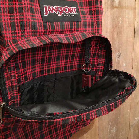 90's JANSPORT Nylon×Leather Backpack  PLAID