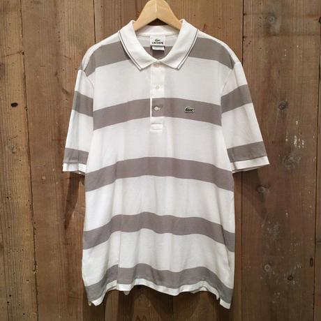 LACOSTE Striped Polo Shirt  WHITE×GREY