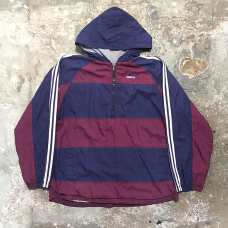 90's adidas Hooded Nylon Jacket NAVY×BURGUNDY