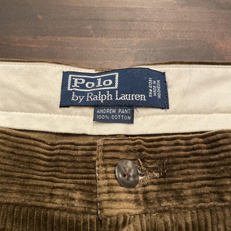 "90's Polo Ralph Lauren ""ANDREW""Two Tuck Corduroy Pants BROWN W:33"
