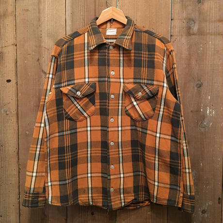 60's OSH KOSH Heavy Flannel Shirt ORANGE×BLACK