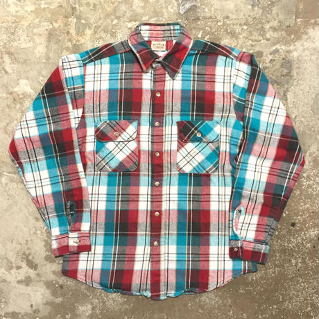 90's FIVE BROTHER Heavy Flannel Shirt BLUE×RED