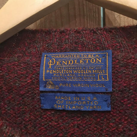 ~70's Pendleton Shetland Wool Sweater BURGUNDY