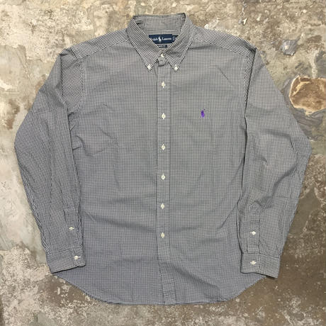 Ralph Lauren L/S Cotton B.D Shirt WHITE×BLACK
