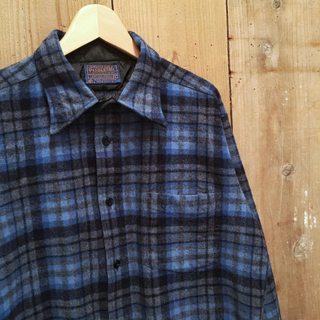 70's PENDLETON Wool Shirt BLUE×BLACK