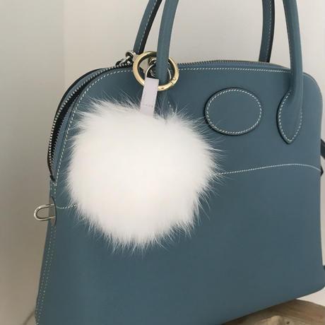 Fox far bag charm/White