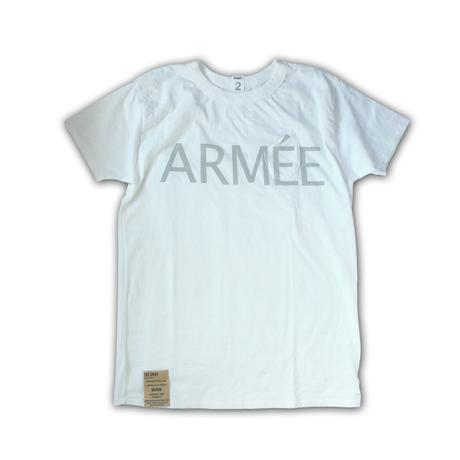 SHORT SLEEVE TEE SHIRT with ARMEE PRINT WHITE COLOUR