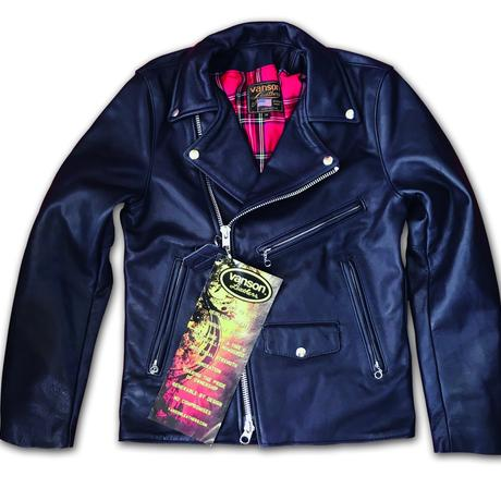 afterdark別注 VANSON C2R W RIDERS' JACKET NAVY with TARTAN LINING
