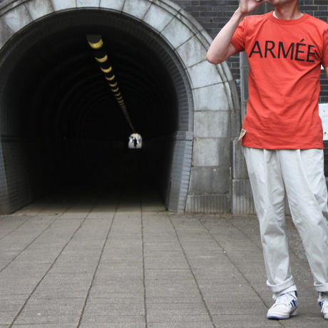 SHORT SLEEVE TEE SHIRT with ARMEE PRINT BRICK COLOUR