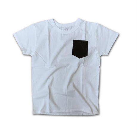 SHORT SLEEVE POCKET PRINT TEE SHIRT with SMALL POCKET WHITE